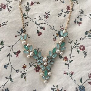 Jewelry - Blue and Pearl Statement Necklace